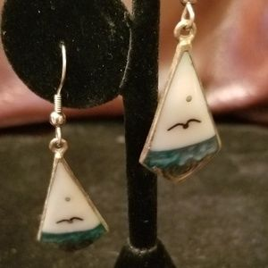 Mexican Sterling Silver Mother of Pearl Earrings